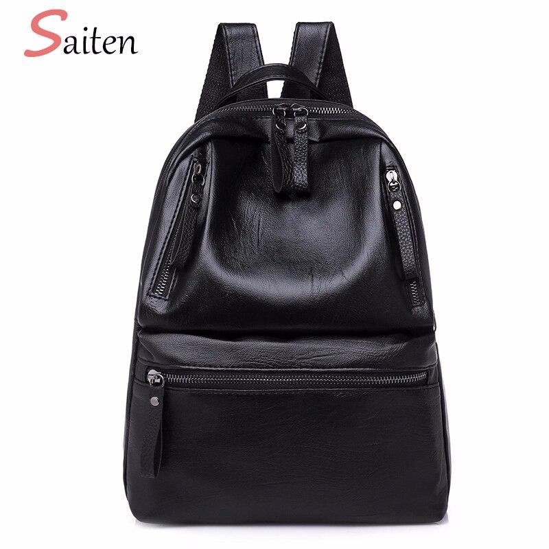 PU Leather Women's Backpacks Large Capacity Bag For Teenager Girls Fashion Solid Backpack Female Black Rucksacks Female Backpack