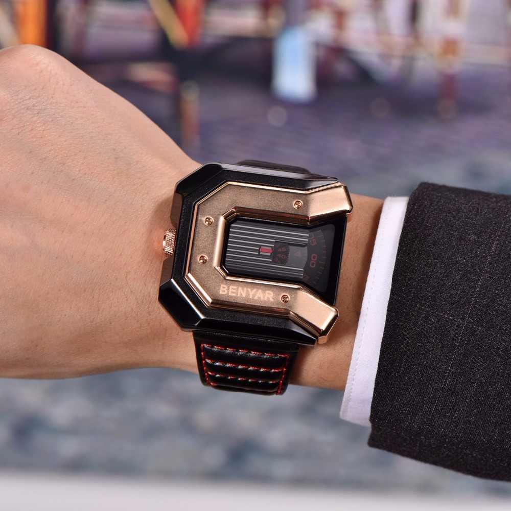 new products 4fd74 fd615 2019 ニュートップ高級ブランド BENYAR 腕時計男性ユニークなデザインのレザーファッション防水クォーツ時計 ...