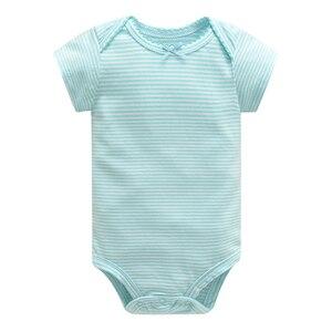 Image 4 - Bebek tulum Bodysuits kısa kollu pamuk sevimli baskı Romper 5 adet yeni doğan bebek kıyafet yaz bebek erkek giysileri seti elbise bebe