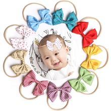 New Striped wave point elastic Headband Hairbands Kids Bowknot Hair Accessories Children Headwear fashion headdress FD12
