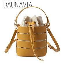 DAUNAVIA сплошной цвет полые PU материал маленькая сумка с феей портативный ведро сумки повседневные дикие одно плечо посыльного пакета