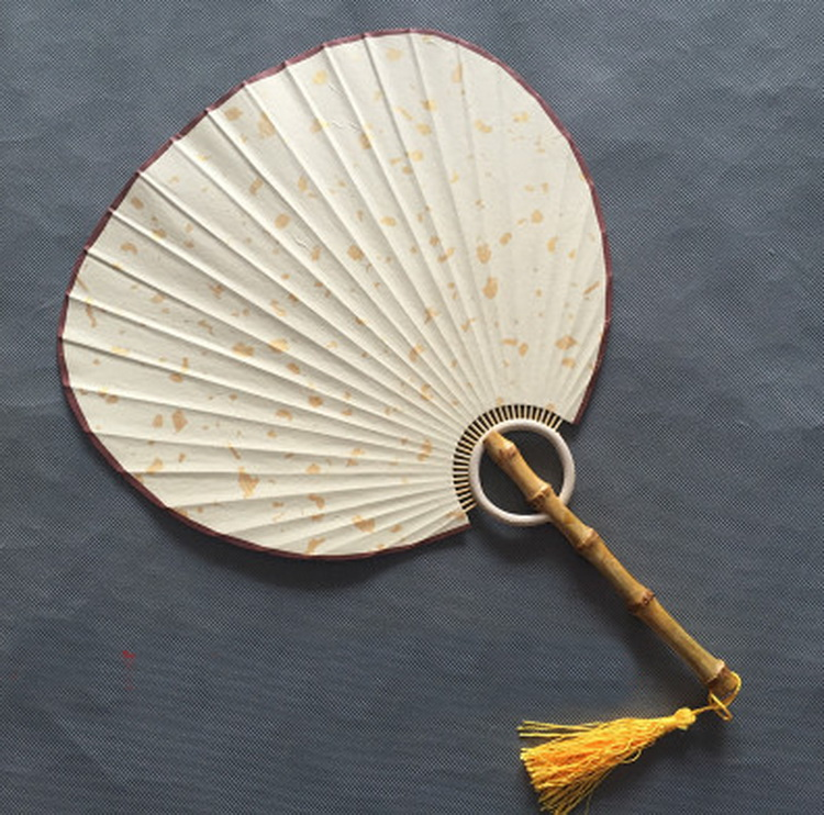 DIY white color blank be drawable Xuan paper bamboo craft hand fans Sprinkle gold oval style Palace fan