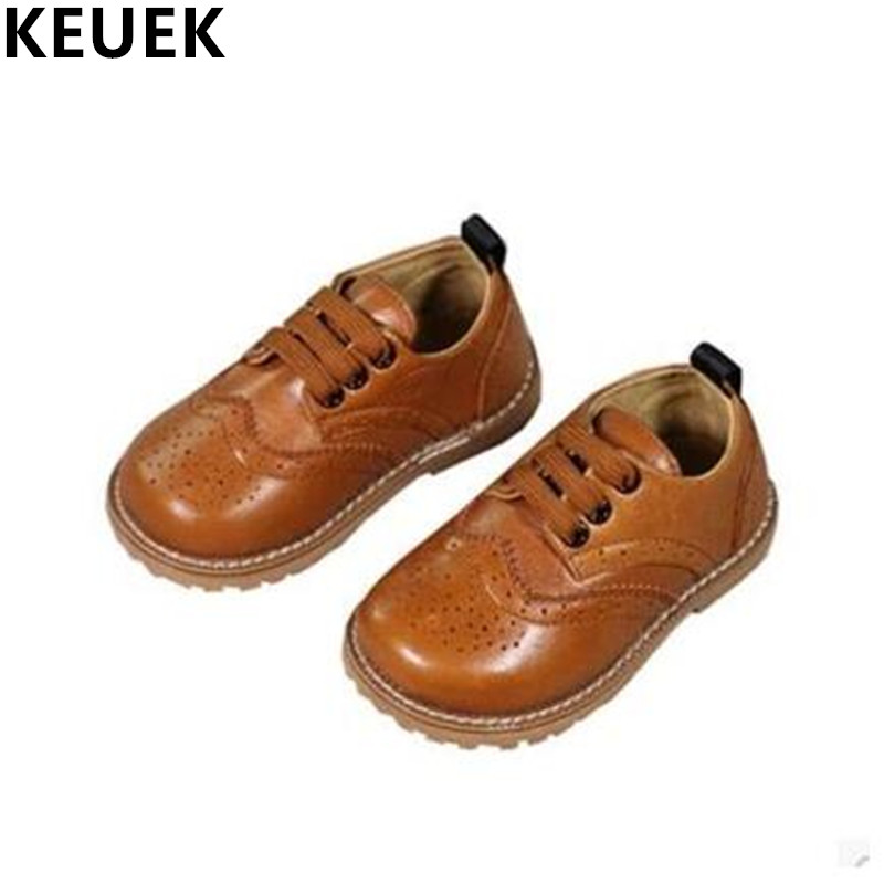NEW Fashion Genuine Leather Children Shoes Boys Girls Casual Brogue Shoes Baby Breathable Flats Kids Oxford Shoes Sneakers 03 2017 breathable children shoes girls boys shoes new brand kids leather sneakers sport shoes fashion casual children boy sneakers