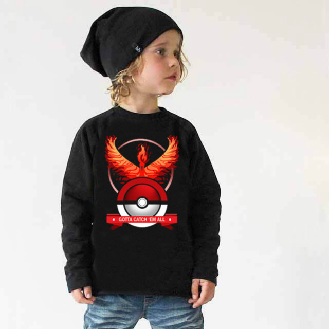 2016 Pokemon Boys full long sleeve t shirt hoodie tees autumn winter spring tshirt blouse sweatshirt Size for 3 4 5 6 7 8 Years