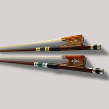 handmade Violin Bow 4/4 BrazilWood Ebony Frog Colored Shell Horn Carved Orchid Ox Horn Gold Braided Violino Bow White Horse Hair
