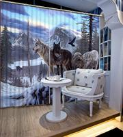Luxury Blackout 3D Window Curtains For Living Room Bedroom animal curtains Blackout curtain winter snow curtain