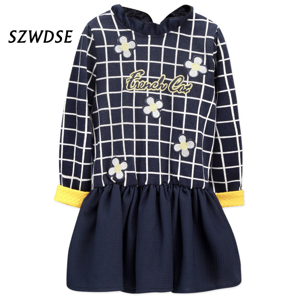 Lucky Child Full-Sleeve Grid Printing Flower Letter Word Clothes Baby Spring Lattice Shirts Fashion Knee-length Girl Dress Gown пижамы lucky child пижама