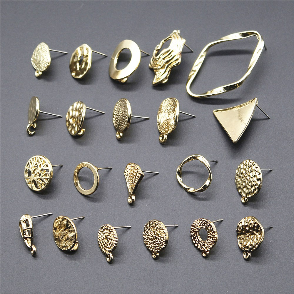 2pcs Golden Distorted Earrings Connectors Earring Making Findings Accessories Earrings Base Connectors Linker