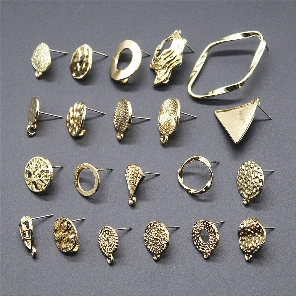 2pcs/lot 38 Styles Golden Distorted Earrings Making Accessories Earrings Base Connectors Linker For Earring Making DIY