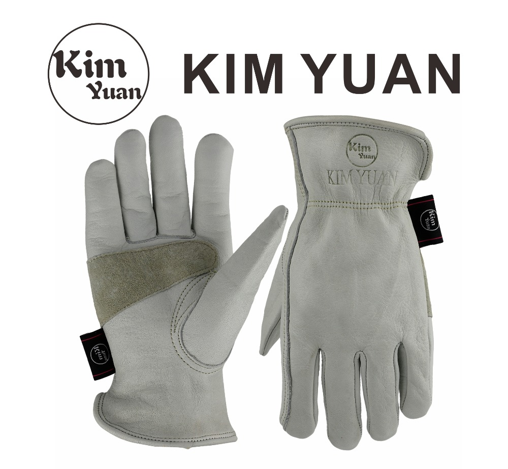 KIM YUAN 031 White Cowhide Work Gloves For Gardening/Cutting/Construction/Motorcycle, Wear-Resistant, Elastic Wrist,Men&Women