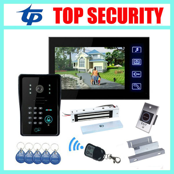 Good quality 7 TFT touch color screen video door phone door bell with RFID and password door access control system kit