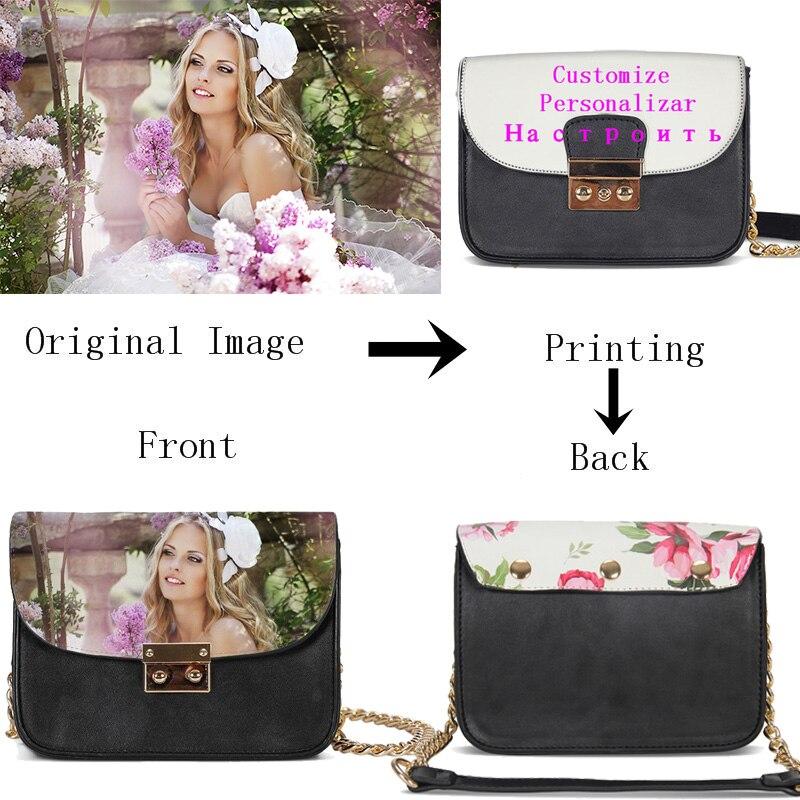 VEEVANV Personnalisé Votre Image Nom Logo Petit sacs à chaîne Femmes Mode Cool Doux courroie en cuir Sacs sacs à bandoulière Bandoulière Sacs