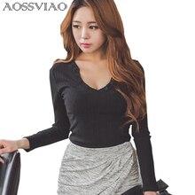 купить Sexy Deep V Neck Top Long Sleeve Tshirt Women Tops Button Black T-Shirt Woman 2016 New Fashion T Shirt Femme Poleras De Mujer дешево