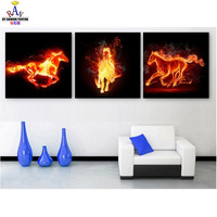 NEW DIY 3D Diamond Painting Fire Horse Triptych Oil Paint Full Square Drill Decor Mosaic Embroidery