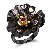 Đen Flower Vòng đối với Phụ Nữ Da Đen Màu Vàng Với Multicolou Cubic Zirconia Đảng Nhẫn Thương Hiệu Thời Trang Jewelry Finger Nhẫn