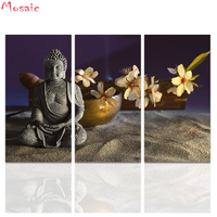 diamond embroidery diy diamond painting 3 Pieces Buddha Wall Art Buddha Statue with Abstract white Flowers