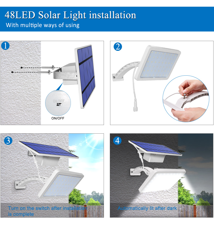 800lm Solar Outdoor Light for with 48 LED With Adjustable Lighting Angle for Garden and Yard Security 11