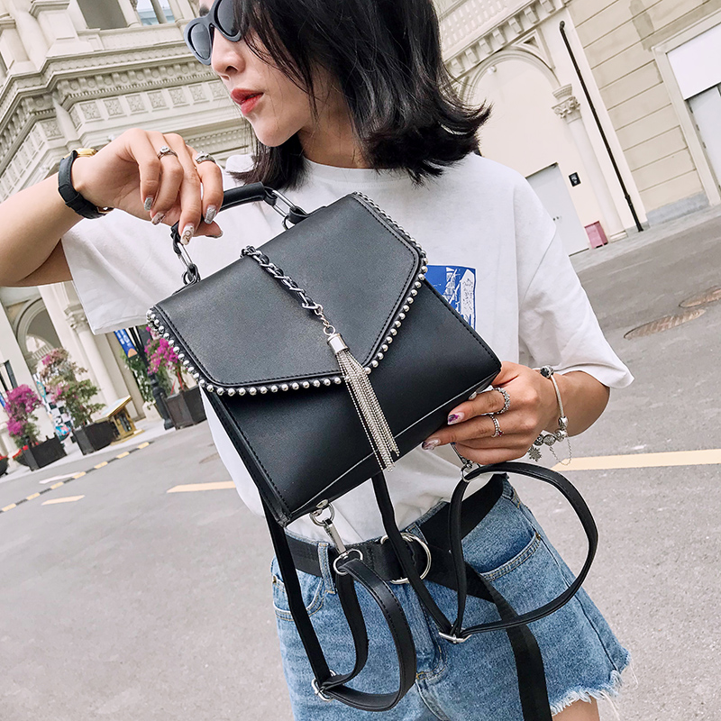Fashion Leather Backpacks For Teenage Girls Bolsa Feminina Mochila Small Ear Women Backpack Tassel Shoulder Bags School Backpack