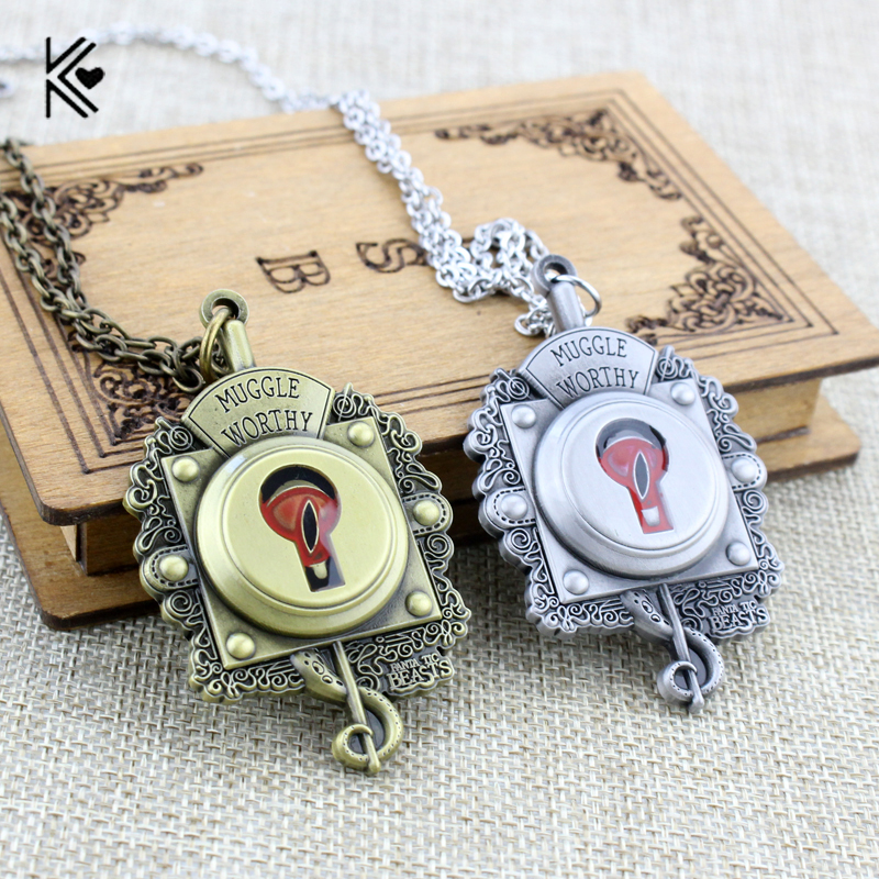 Hot Movie Fantastic Beasts and Where to Find Them Necklace Muggle Worthy Lock Necklace for Women Men Fans Of Magic Series