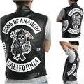 Dropshipping США сыны анархии Harley Мотоцикл Вышивка Кожаный Жилет черный панк Куртка