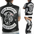 Dropshipping USA Sons of anarchy Harley Motorcycle Embroidery Leather Vest black punk Jacket