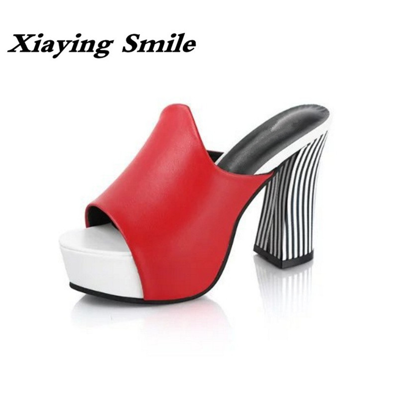 Xiaying Smile New Summer Women Sandals High Square Heels Pumps Fashion Platform Shoes Casual Lady Mature Style Slip On Shoes xiaying smile woman sandals shoes women pumps summer casual platform wedges heels buckle strap flock hollow rubber women shoes