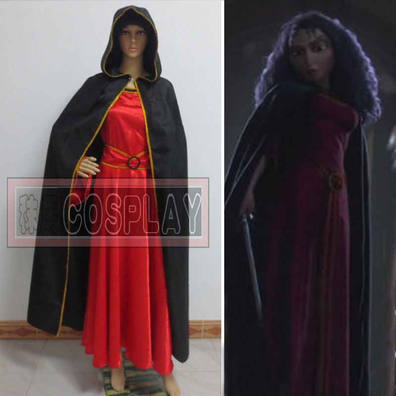Custom Made anime movie Tangled Mother Gotheld cosplay Costume Rapunzel Cosplay wine red dress with cloak