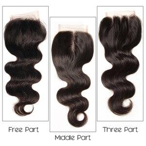 Image 5 - Sunber saç perulu vücut dalga saç demetleri ile kapatma yüksek oranlı Remy saç 3/4 demetleri ile kapatma çift makine saç atkı