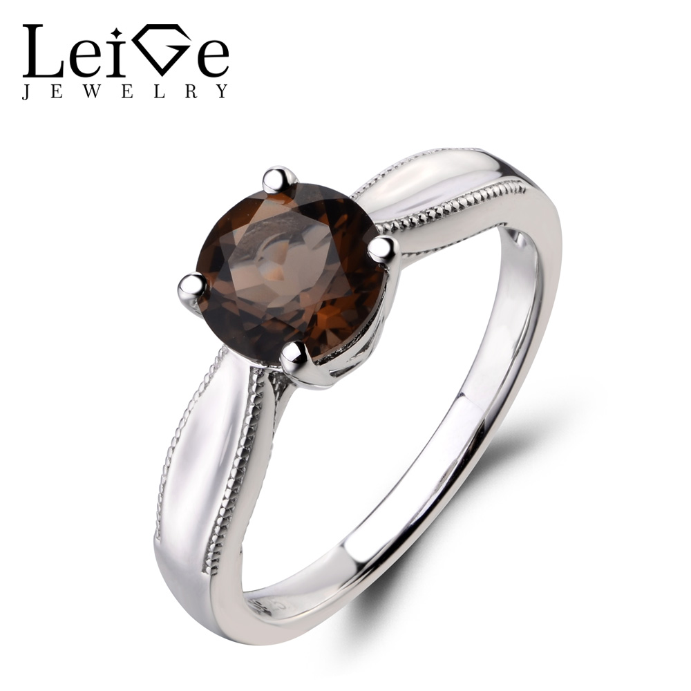 Leige Jewelry Natural Smoky Quartz Ring Cocktail Ring Solitaire Round Cut Brown Gemstone 925 Sterling Silver Ring Gifts for Her цена