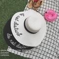2017 elegante bordado carta no se molestan en ala ancha dom sombreros de verano para mujeres chapeu panamá sombrero de playa
