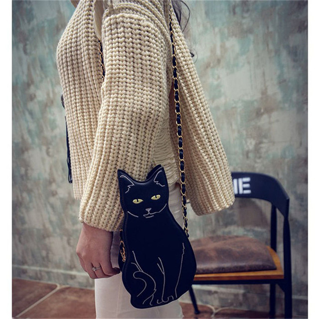 New Fashion Cute Cat Handbag Vintage Chain Shoulder Bag