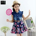 2016 New Hot Style Children's Clothing, Children's Summer Girls Cuhk Floral Cowboy Dress 2Pcs Children's Sets 3-15Year