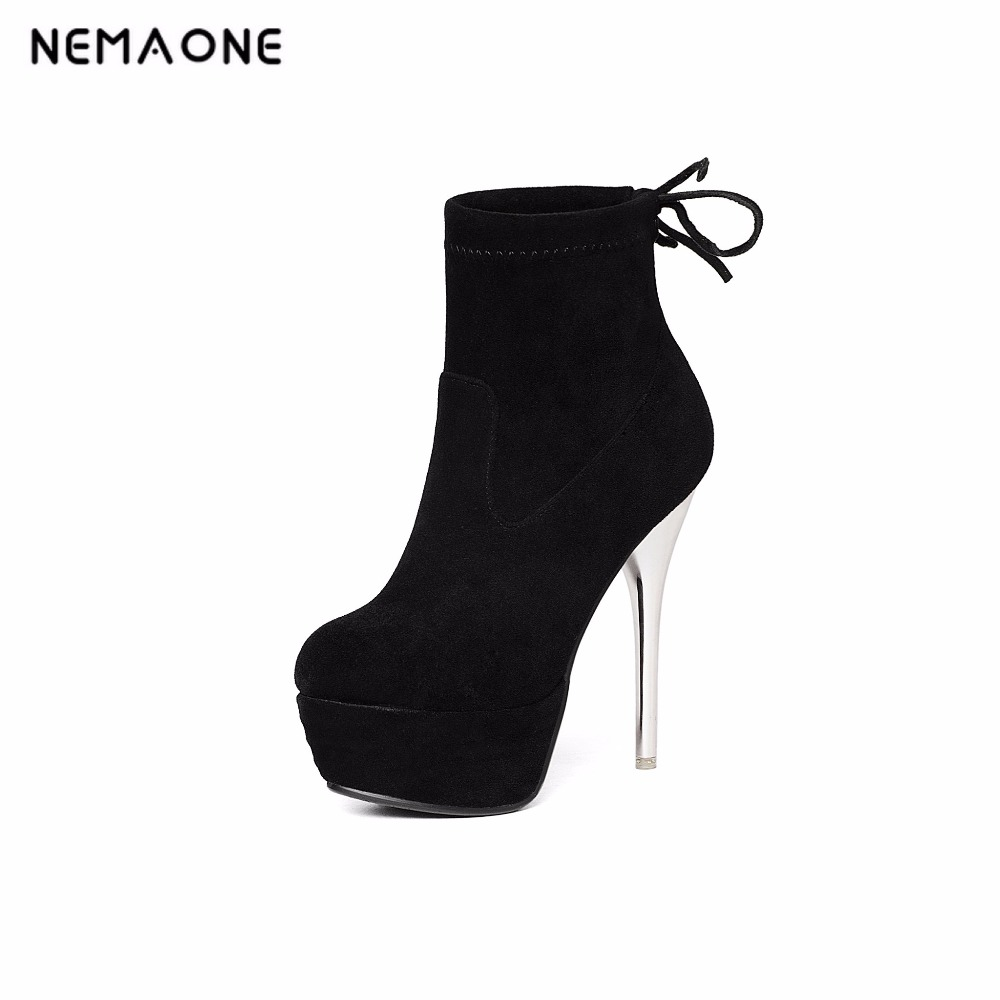 NEMAONE 2017 New sexy ankle boots fashion square toe thin high heels women boots platform lady boots large size 34-43 summer new large size denim shorts female high waist jeans thin 2017 new fashion women slim belly short pant
