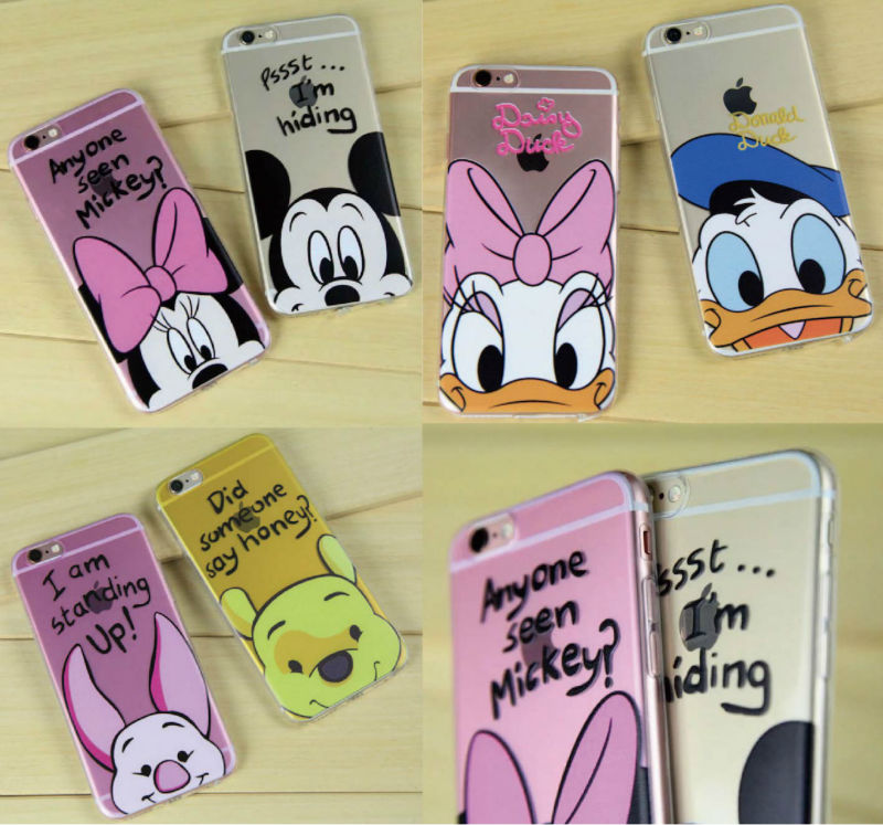 c6e06353cce Mickey Minnie Mouse dibujos animados Pato Donald Piglet PUF oso pato Daisy  del teléfono de los amantes del caso para el iPhone 7 Plus 7 6 S 8 8 Plus X  XS ...