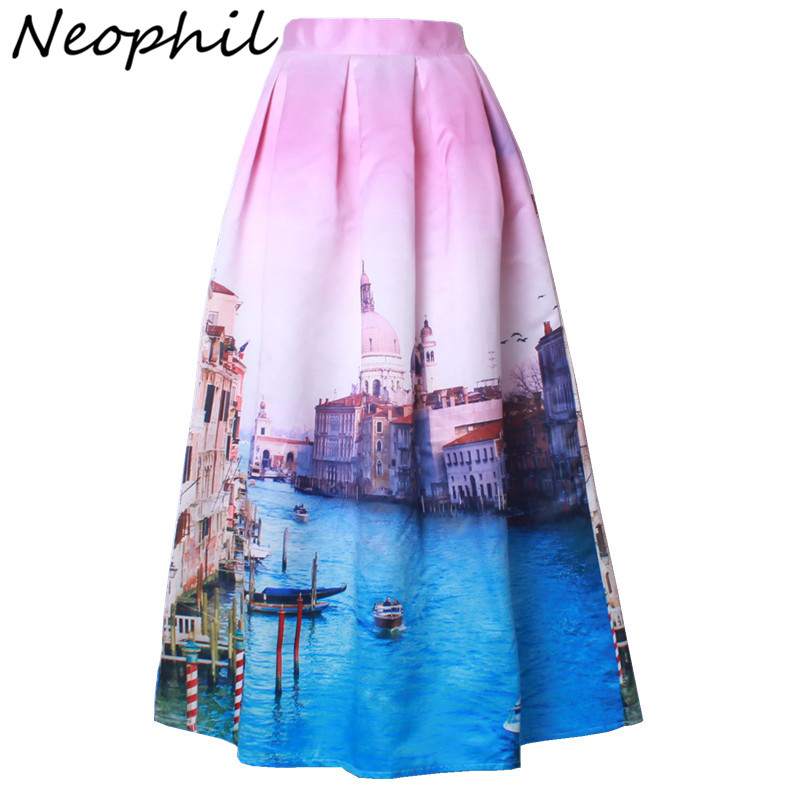 Neophil 2018 Ladies Venice Building Floral Print High Waist Pleated Ball Gown Skater Satin Maxi Long Skirts Jupe Longue MS08027