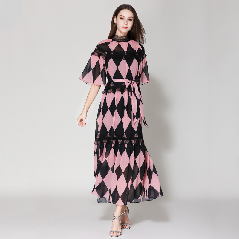 European American Quality Beautiful Women Maxi Long Print Dress Plaid Printed Lace Patchwork Sweet Summer Chiffon