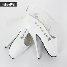 Jialuowei Halloween costume 7″ Spike High Heel Ankle strap Ballet  Pumps cosplay shoes sexy Fetish Spike heel ballet shoes