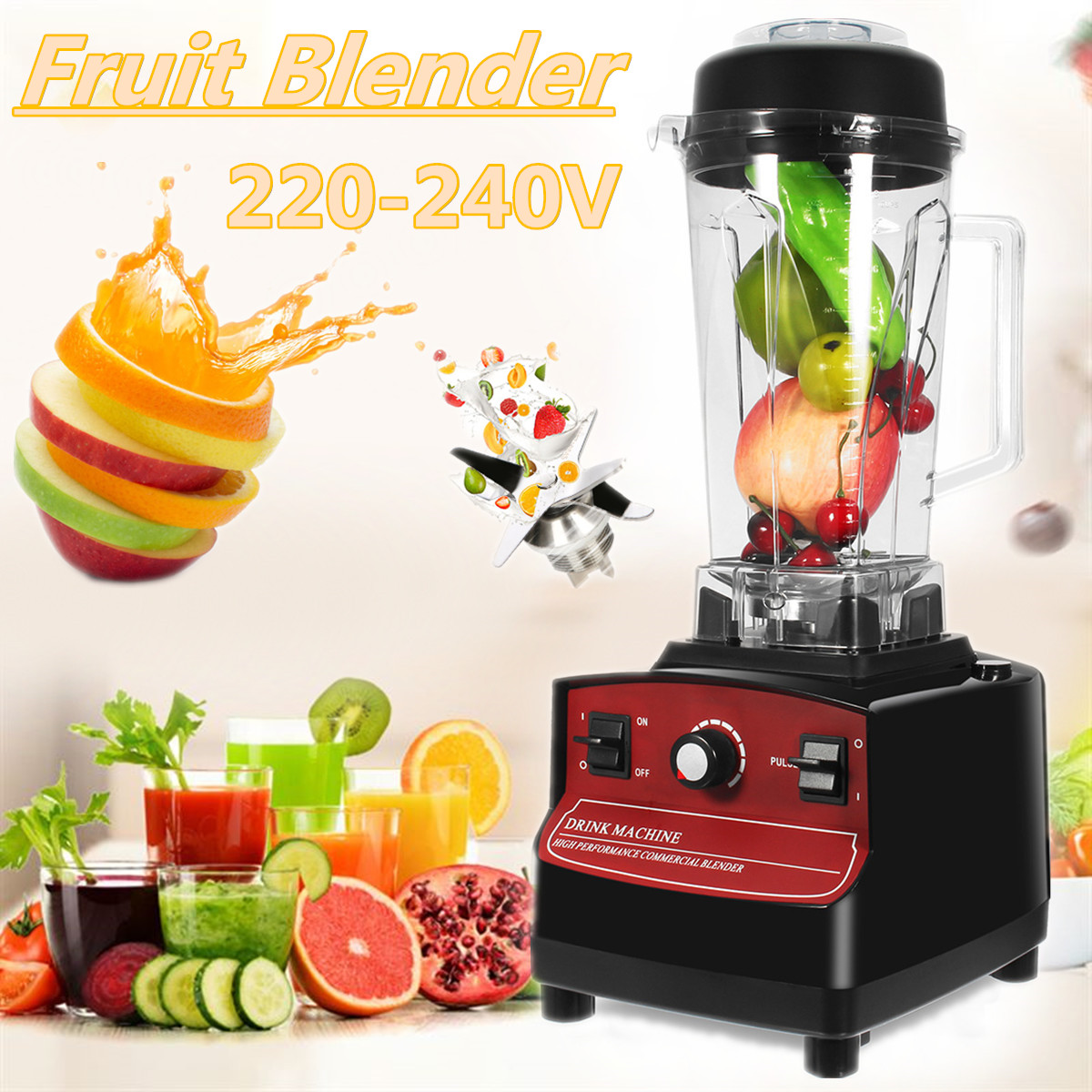 2L 1200W 220-240V AU/EU Plug Commercial-Blender Fruit Smoothie Mixer Juicer Machine Food Processor Stainless Steel Cutting купить в Москве 2019