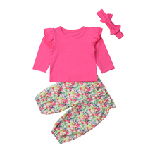 цена на Little Girls 3Pcs Summer Long Sleeve Clothes Set Toddlers Baby Kids Girl T-shirt Tops+Floral Long Pants Outfits Sets 0-4T 2019