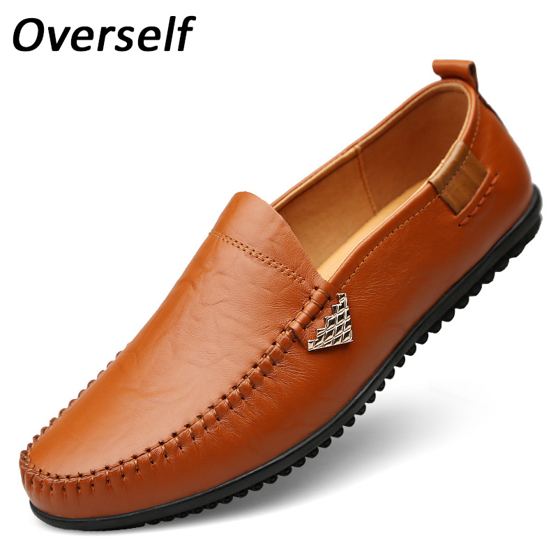 New Fashion Moccasins Men's Casual Shoes Handmade Loafers Genuine Leather Boat Shoes For Men Slip On Zapatos Hombre Plus Size 46 2018 spring new men gothic slip on loafers casual genuine leather thick platform sneakers high top trainer shoes zapatos hombre