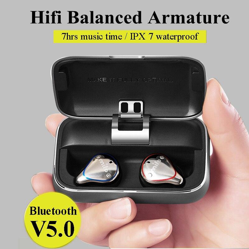 Bluetooth 5.0 Vero Auricolari Senza Fili impermeabile di Bluetooth Trasduttore Auricolare di Sport del 3D Suono Stereo Auricolari con Casella di Ricarica per il Telefono