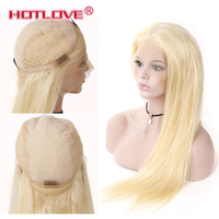 Hotlove полный блондинка 613 Цвет перуанской человеческих волос кружева фронтальной парики плотность 130% прямо 613 Золотой светлые волосы 10 24 дюй