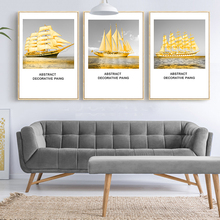 Canvas Painting Golden Sailing Boat Sea Wall Art Print Nordic Poster Landscape Chic Drawing Ornament For Cafe Bedroom Shop