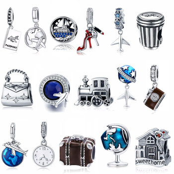 Silver Berloque Family House Eiffel Tower Camera Travel Dream Coffee Cup Shoes Charm Fit