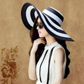 Nova moda verão mulheres Vintage clássico preto e branco listrado chapéu de sol grande Brim chapéu de palha praia Cap viseira 0997