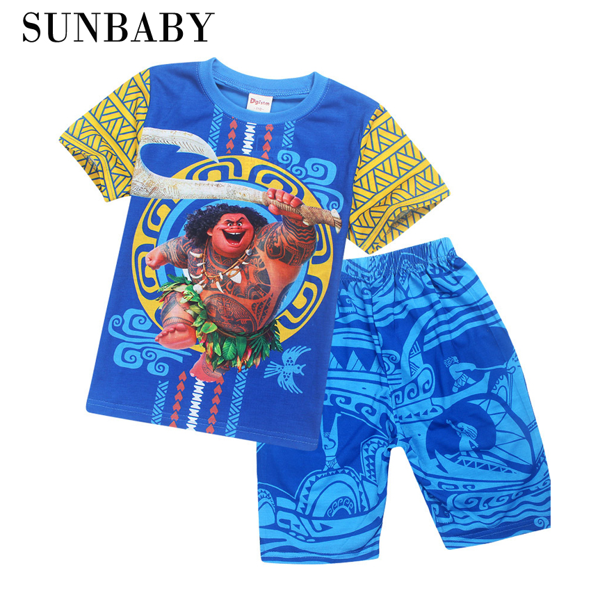 цены на 2017 New Cartoon Moana clothes boys clothing cotton pajamas set Maui Tatto printed 2 piece set в интернет-магазинах