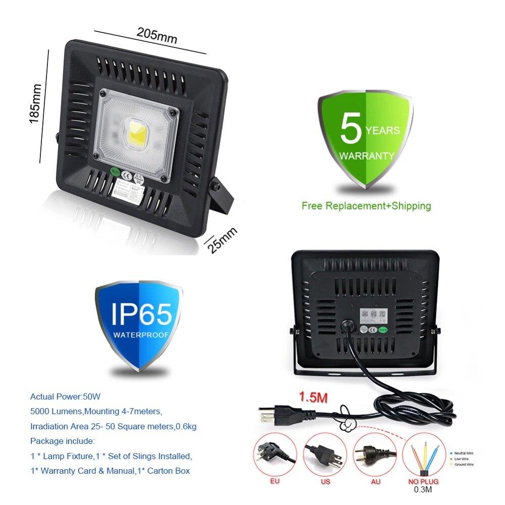 SJLA Garantie 5 Année Étanche IP65 Intérieur Mur Extérieur Jardin Spot Refletor Extérieur Foco Lampe 50 W 100 W Plug led projecteur - 3