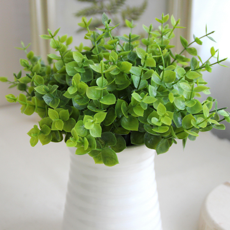 20pcs/lot rustic artificial plastic green fresh small 5 branches