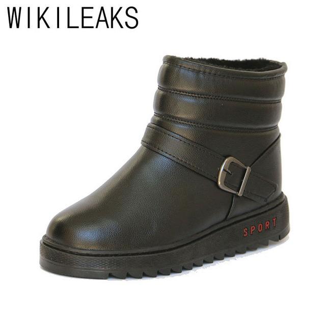 Wikileaks Plus Size 40 ~ 44 Más Cálido Nieve Botas Botines Para Hombre de Estilo Ruso Negro PU Hecha A Mano de Alta Calidad Zapatos de invierno