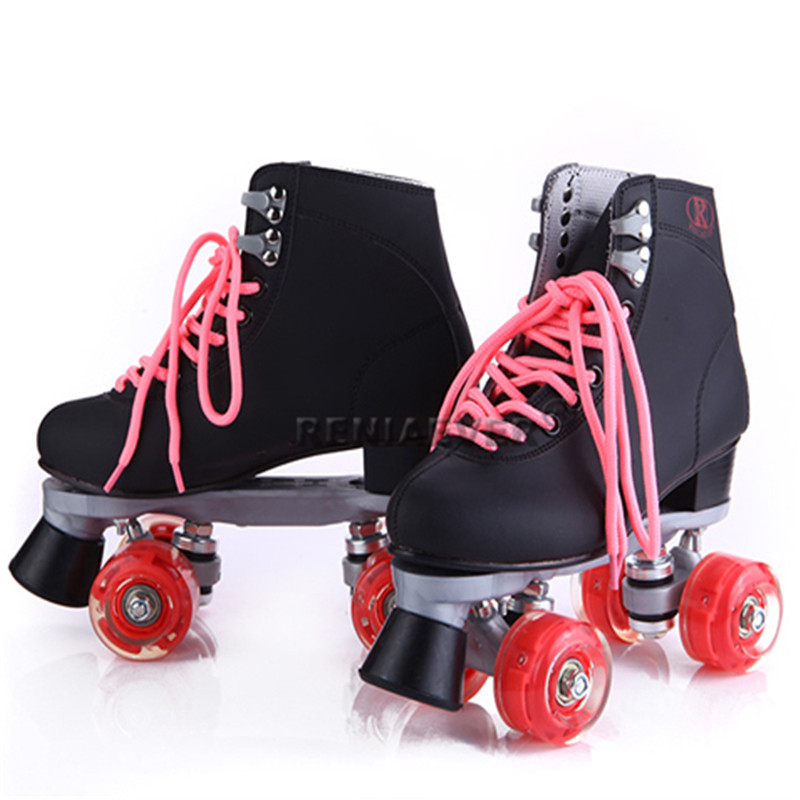 Professional Adult Double Roller Skates Figure Skate Two Line Flashing Wheels Roller Skate Patins Unisex Adulto Black Shoes IB13 reniaever double roller skates skating shoe gift girls black wheels roller shoe figure skates white free shipping